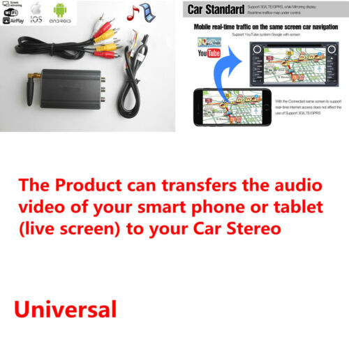 Car WiFi A/V Cconverter Adapter Audio AV-IN (CVBS) HDMI for iOS Android Devices