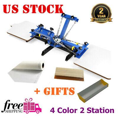 Usa Stock 4 Color 2 Station Silk Screen Printing Press For Diy T-shirt Printing