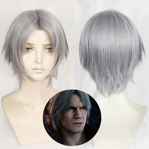 Devil May Cry 5 Dante Tony Redgrave Wig Gray Short Hair Cosplay Wig+Hairnet
