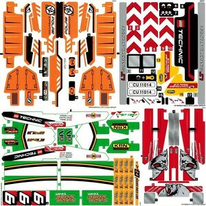Lego Technic Sticker Sheets x4 Decals Transfers - 42024 42029 42038 42039 - NEW