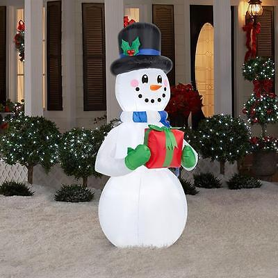 6.5 Ft Snowman With Present Christmas Lighted Airblown Inflatable Yard Decor