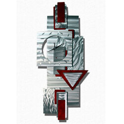 AWESOME PENDULUM SILVER / RED CLOCK  Metal Wall Art  Sculpture Jon Allen