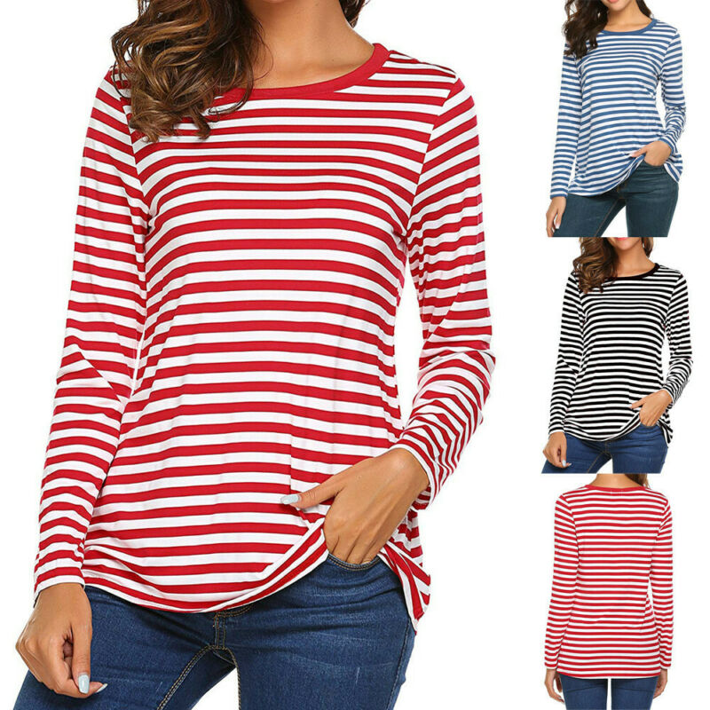 Women Long Sleeve Round Neck Basic T-Shirt Striped Shirt Tun