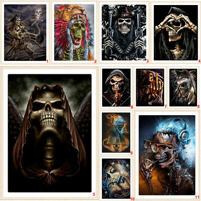 Home Diy Halloween (Halloween Skull DIY 5D Diamond Painting Embroidery Cross Stitch Kits Home)