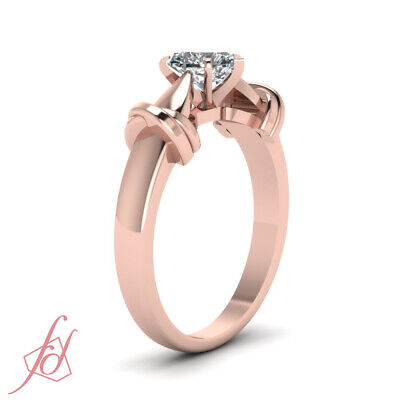 1 Carat Heart Shaped Diamond Tapered Cathedral Solitaire Engagement Ring GIA 2