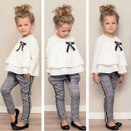 Toddler Baby Kids Girls Outfits Ruffle T Shirt Tops+Checked Pants Clothes Set US