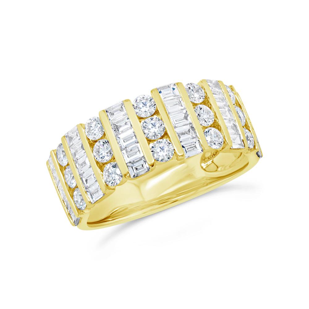 Damen Baguette Rund Diamantring 14K Gelbgold Kanal Set Breiter Ring 1.65ct