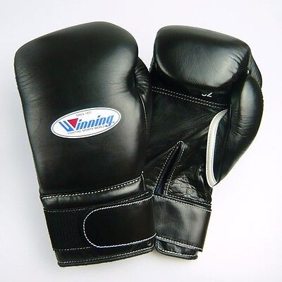 New Winning MS-600B Boxing Gloves 16 oz Tape Fasten Pro type Black With Tracking