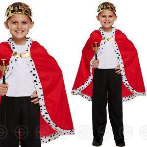 BOYS KING CAPE FANCY DRESS COSTUME ROYAL MEDIEVAL ROBE CLOAK GIRLS BOY CHILDS