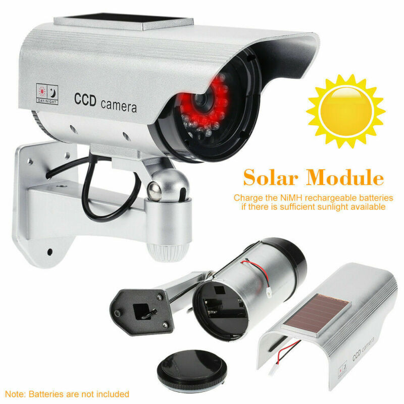 Dummy Outdoor Solar Power Fake Camera Home Security CCTV Surveillance LED Light