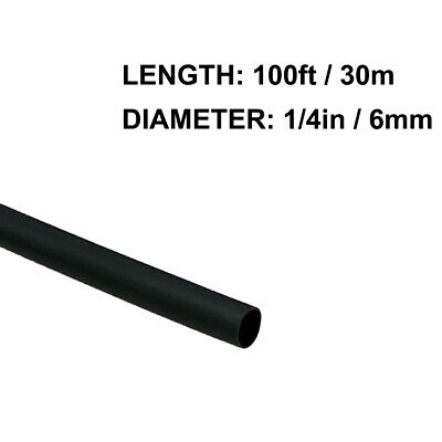14in 6mm Diameter Heat Shrink Tubing Shrinkable Tube 100ft Black