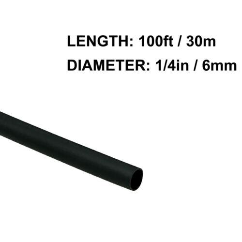 1/4in (6mm) Diameter Heat Shrink Tubing Shrinkable Tube 100ft Black