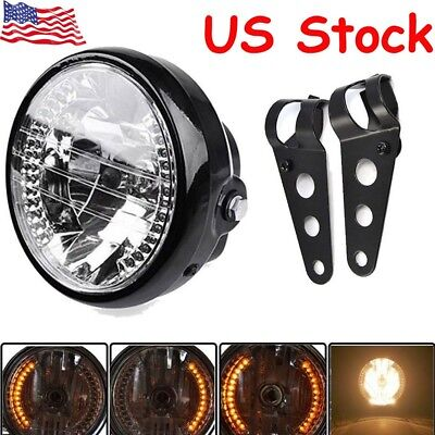 "Universal 7"" Motorcycle Bike Headlight LED Turn Signal Light Black Bracket Mount"