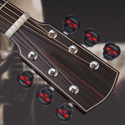 6X BLACK SKULL Guitar String Tuning Peg Machine Heads Tuner Keys Halloween Decor](Guitar Halloween)