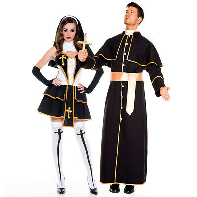Women Pair Halloween Costumes (Halloween Lover's Cosplay Male Missionary Priest Costume Nuns Fancy Dress)