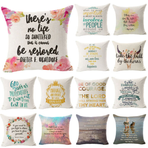 Fashion Letters Cotton Linen Cushion Cover Throw Pillow Case Sofa Home Decor