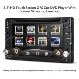 Double Din 6.2 inch Screen Sat Nav Car Audio CD AUX Bluetooth Stereo GPS DVD USB SD 2-DIN Player