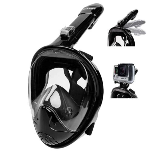 Full-Face BLACK Snorkeling Free-Diving Mask 180 Degree Anti-Fog w/ Camera Mount