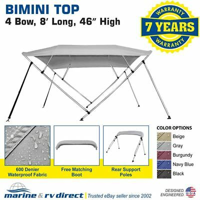 "New Bimini Top Boat Cover 4 Bow 46"" H 79"" - 84"" W Gray 8 Foot Long Gray"