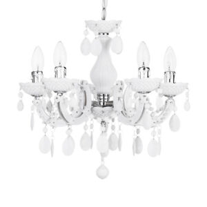 5 Light Chandelier Home White Decorative Marie Therese Ceiling Light Litecraft