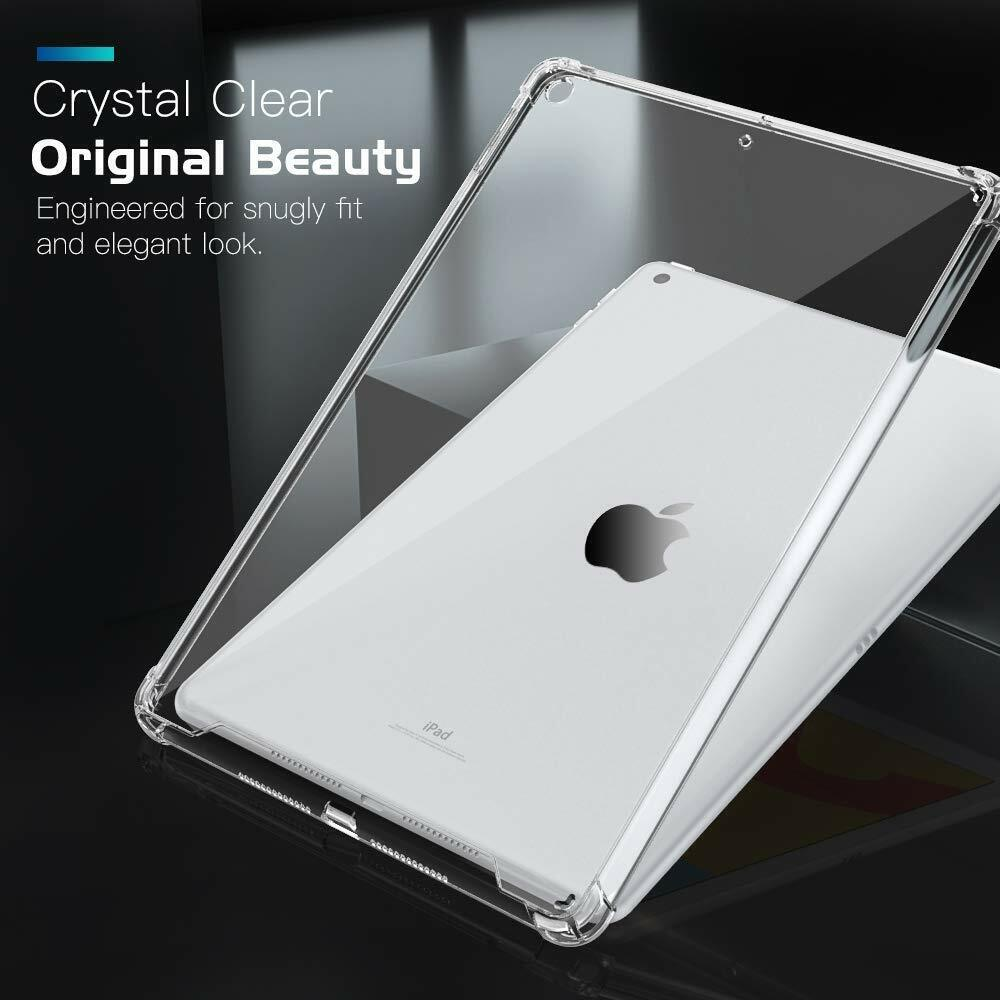 For Apple iPad 10.2 2019 Clear Shockproof Slim Case Cover Tablet+Tempered Glass Cases, Covers, Keyboard Folios