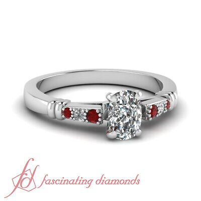 .60 Ct Cushion Cut Diamond & Round Red Ruby Engagement Ring Pave Set 14K VS2 GIA