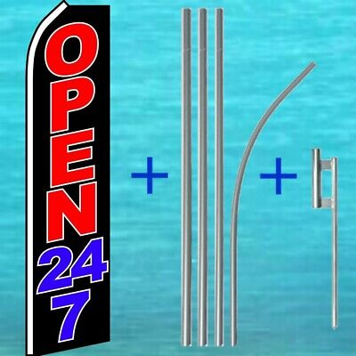 Open 24 7 Flutter Flag Pole Mount Kit Tall Feather Banner Advertising Sign
