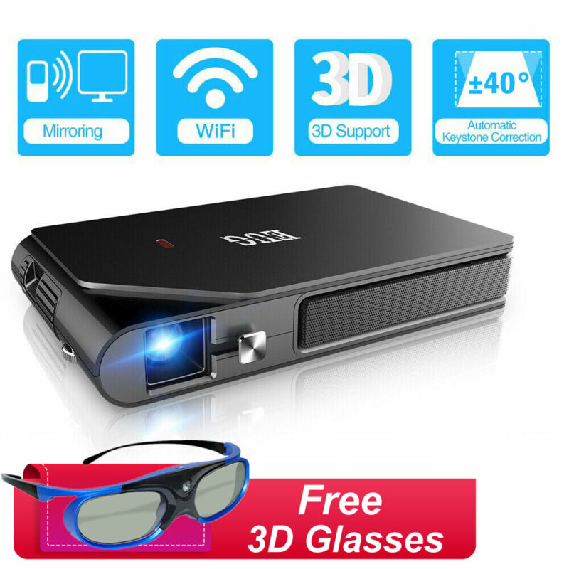3600lumen HD Pico DLP 3D Projector WiFi Airplay Miracast Game Free 3D Glasses US