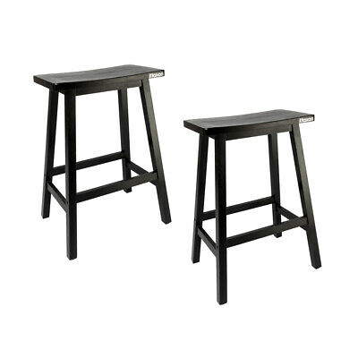 2 PCS Home Furniture Wooden Bar stools Dining Room Kitchen Saddle Seat Chair NEW