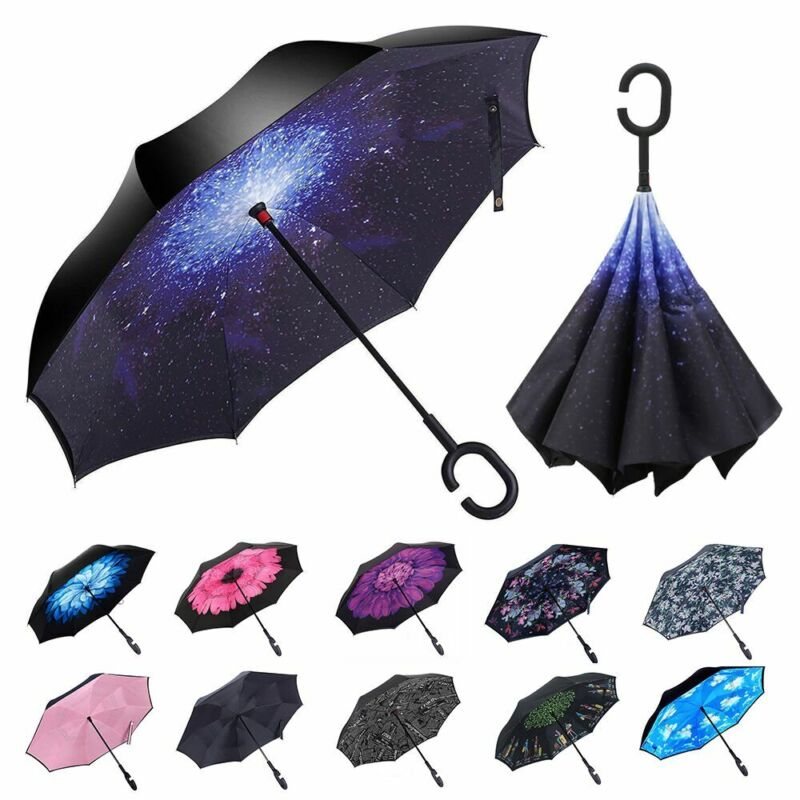 Double Layer Inverted Umbrella w/ C-Shaped Handle UV Windproof Reverse Parasols