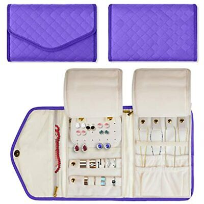 """Jewelry Travel Organizer, Quilted Roll Storage Bag For Necklace, Earrings, And """""""