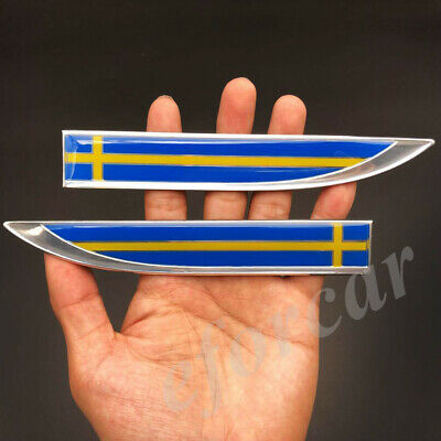 Sweden Flag Car Auto Fender Knife Emblem Skirts Badge Decal Sticker Volvo Saab for sale  China