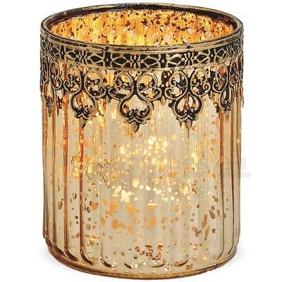 Marokkanische Schlafzimmer Dekor (Teelichtglas Windlicht Orientalisch Marokko & Metalldekor gold antik 12 cm)