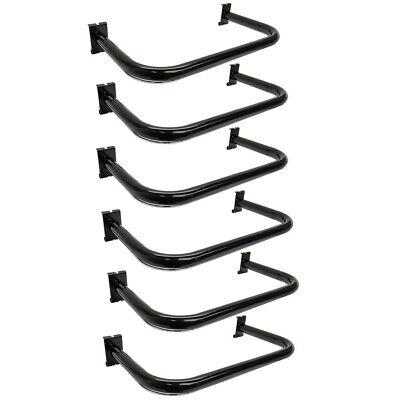 6 Pc Black U Shaped Hangrail Curved Tube Hanger Gridwall Bracket Clothing Rack