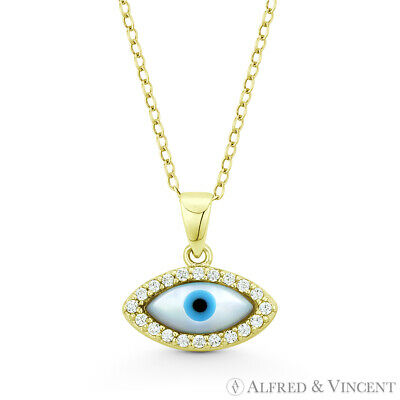 Evil Eye Mother-of-Pearl Luck Charm Sterling Silver 14k Plated Necklace Pendant Mother Of Pearl Silver Plated Necklace