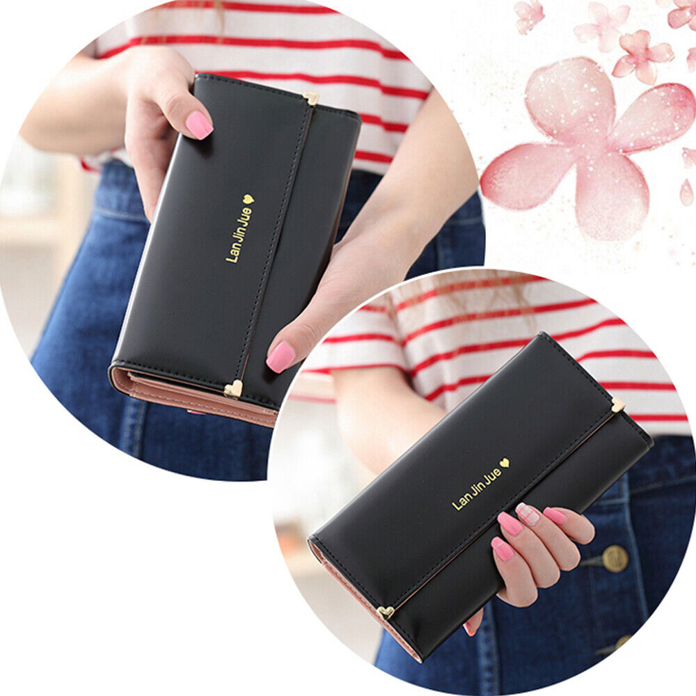 Women Long Leather Clutch Wallet Ladies Purse Card Holder Phone Handbag Gift US Clothing, Shoes & Accessories