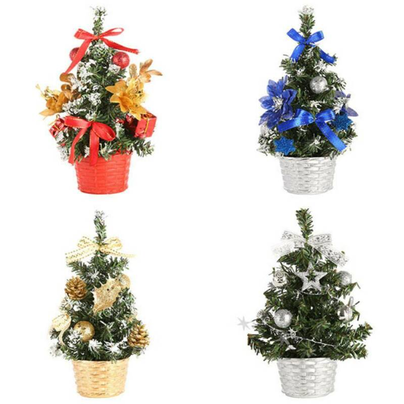 US Mini Desk Table Top Christmas Small Xmas Tree Home Ornaments Decor