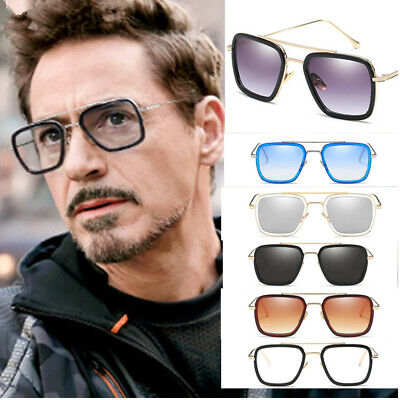 Fashion Iron Man Sunglasses Square Robert Downey TONY STARK Pilot Glasses (Robert Sunglasses)