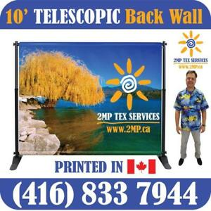 10' x 8' STEP-N-REPEAT MEDIA WALL TRADE SHOW BANNER STAND DISPLAY POP UP BACKDROP - FAST FABRIC DYE SUBLIMATION PRINTING