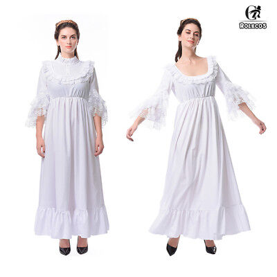 Medieval Renaissance Women White Princess Nightdress Chemise Long Dress Costume](White Medieval Gown)