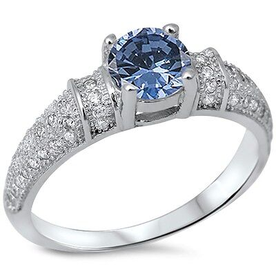 Blue-Sapphire & Micro pave Cubic Zirconia  .925 Sterling Silver Ring Sizes (Blue Sapphire Cubic Zirconia Ring)