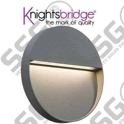 Knightsbridge 230V IP44 4W LED Round Wall/Guide light - Grey Outdoor Wall Light