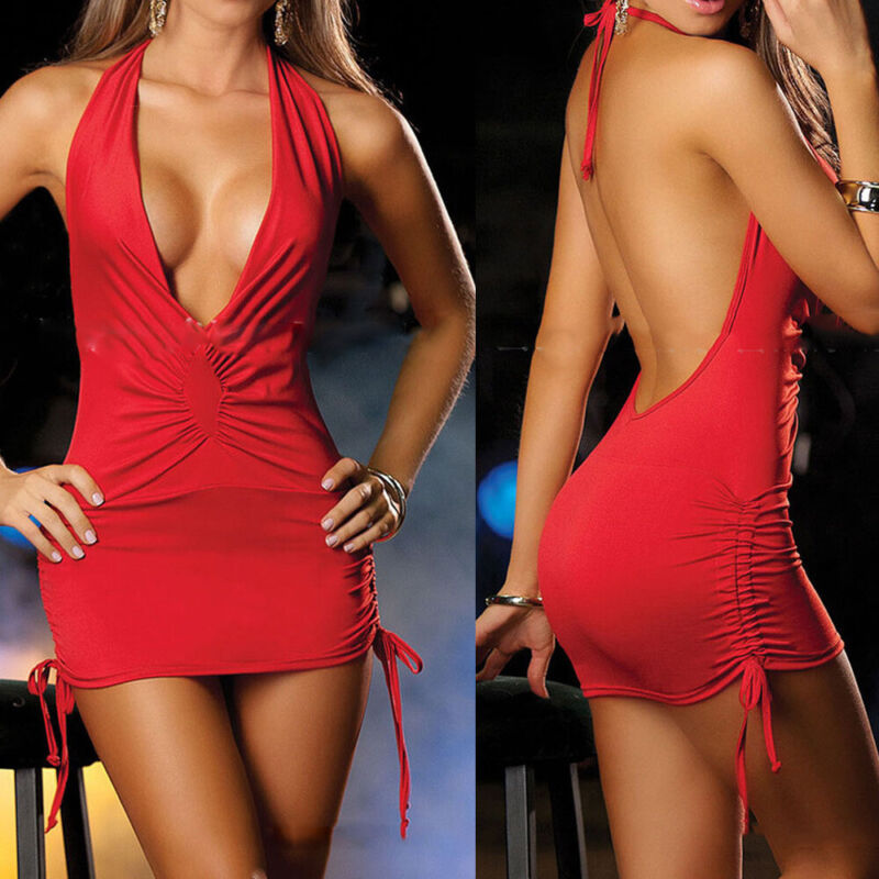 Sexy Women Deep V Neck Mini Dress Backless Bodycon Halterneck Party Club Dress
