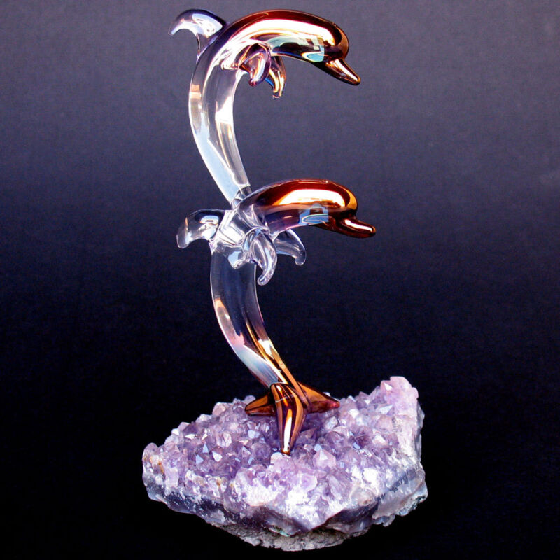 Dolphins Figurine of Blown Glass Amethyst Crystal Gold