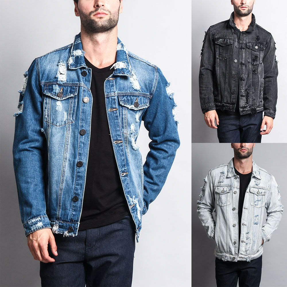 NWT Victorious Men's Wash Distressed Denim Jean Jacket -DK10