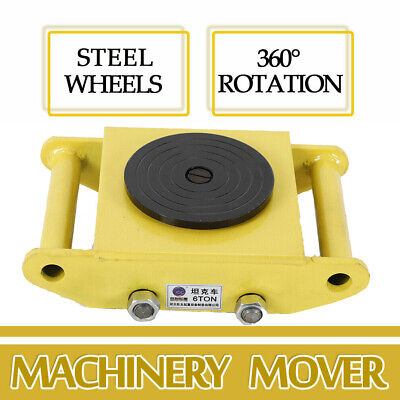 6 Ton Heavy Duty Yellow Dolly Skate Machinery Roller Mover Cargo Trolley 4 Wheel