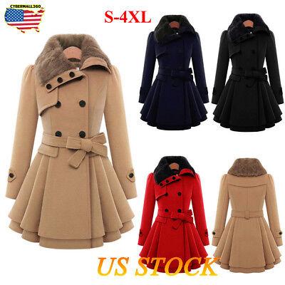 Women Ladies Fur Collared Winter Long Peacoat Coat Trench Outwear Jacket Dress (Dress Coat)