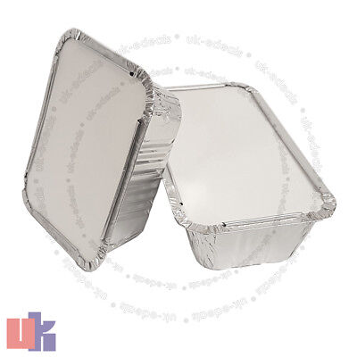 ALUMINIUM FOIL HOT FOOD CONTAINERS BOX WITH LIDS PERFECT FOR HOME TAKEAWAY USE