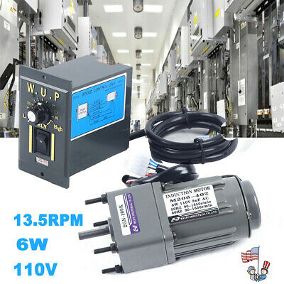 110v Reversible Ac Gear Motor Electric Wvariable Speed Controller 100k 13.5rpm