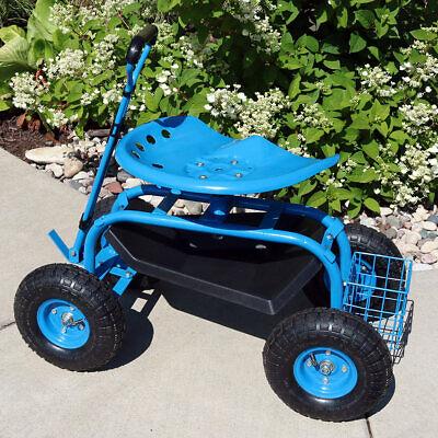 Sunnydaze Rolling Garden Cart w/ Extendable Steering Handle Seat & Basket - Blue